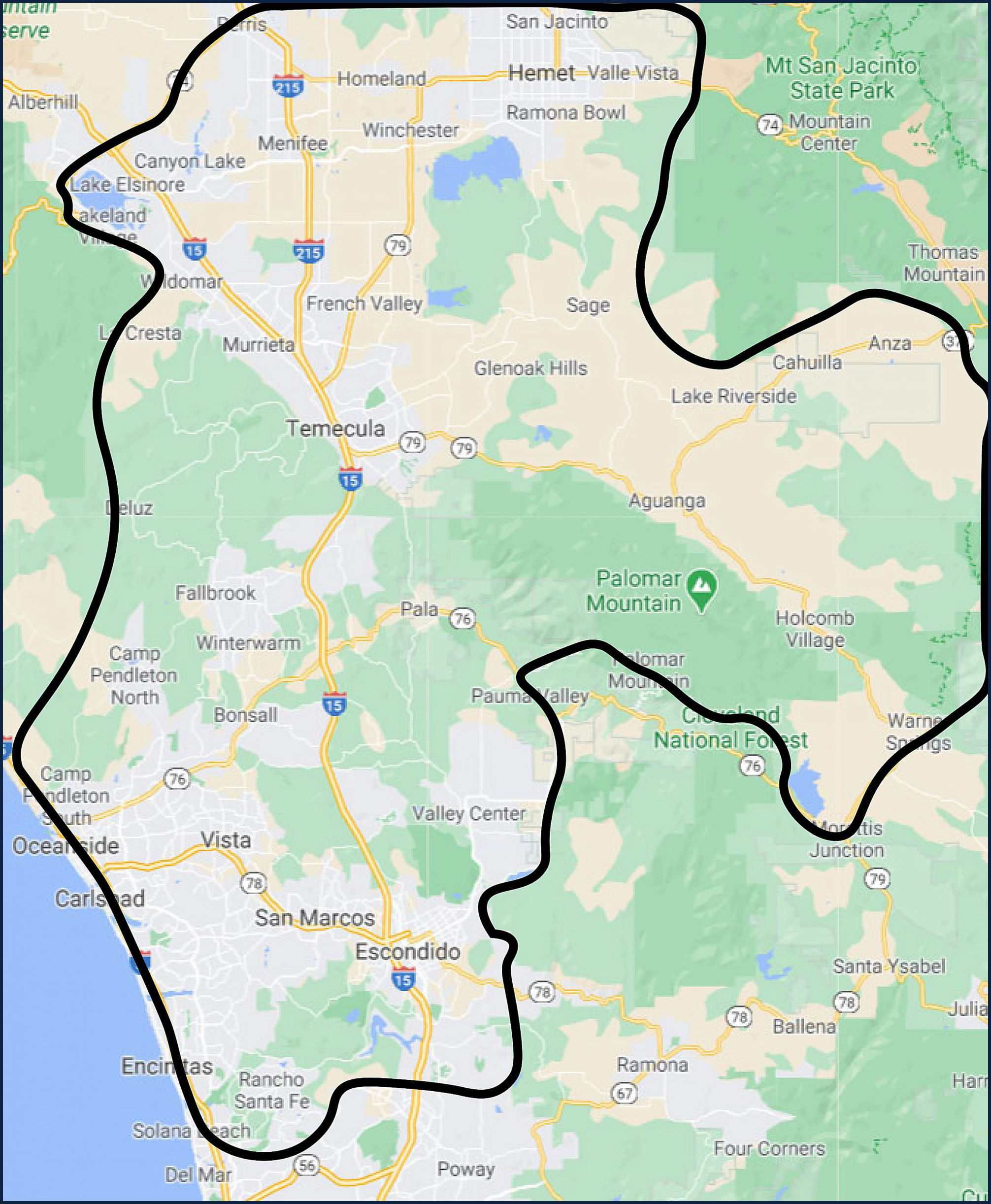 Local propane delivery service area map